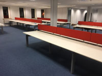 White Techo Desk installation, Used Office furniture install