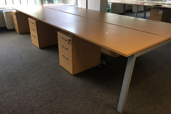 Beech desking at New and  Used Office Furniture Wiltshire