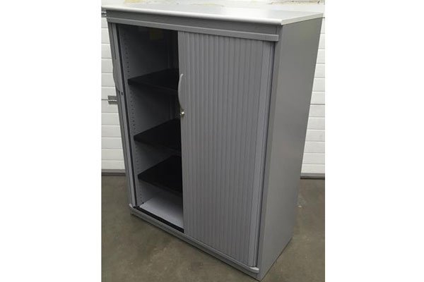 Used Grey Steelcase 1700mm tambour cupboards New and  Used Office Furniture Wiltshire