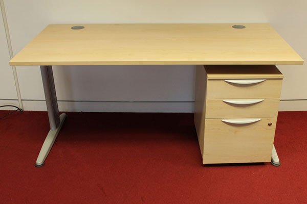 Used Senator Jigsaw Maple Rectangular 1600 x 800mm desk & pedestal New and  Used Office Furniture Wiltshire