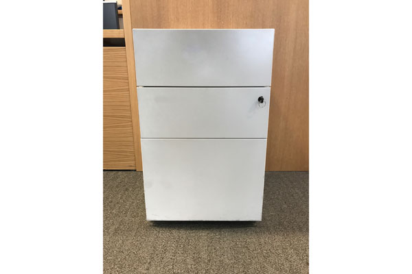 Used white Bisley steel 3 drawer pedestal New and  Used Office Furniture Wiltshire